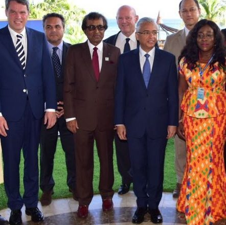 Photo Caption: Hon Pravind Jugnauth, Prime Minister of Mauritius, Hon Anil Gayan Minister of Tourism Mauritius, President Didier Robert of Reunion, Hon Catherine Abelema Afeku, Minister of Tourism of Ghana, Dr Dirk Glaesser of the UNWTO, Alain St.Ange, head of the Saint Ange Consultancy and former Minister of Tourism, Civil Aviation, Ports and Marine of the Seychelles & Minister Alain Wong of Mauritius